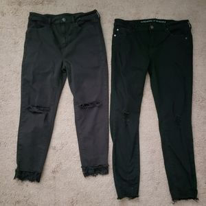 LOT 2 Black distressed skinny Jean's sz 10S